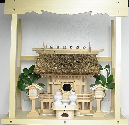 神棚 茅葺一社宮 正殿型〈K-9〉+神具セット(ハーフ・小)+神棚板+雲板(中)のセット