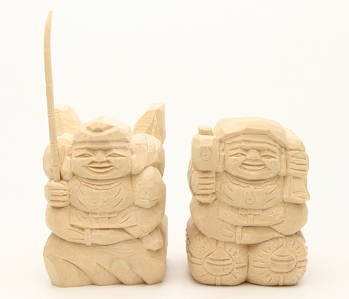 えびす様・大黒様 二福神像(上彫3寸)