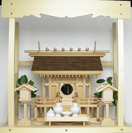 神棚 桧皮葺一社宮 正殿型〈H-2〉+神具セット(ハーフ・中)+神棚板+雲板(中)のセット