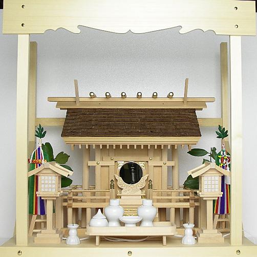 神棚 桧皮葺一社宮 正殿型〈H-2〉+神具セット(フル・中)+神棚板+雲板(中)のセット〈H-2用〉