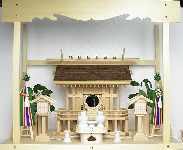 神棚 桧皮葺一社宮 正殿型〈H-2〉+神具セット(フル・中)+神棚板+雲板(大)のセット