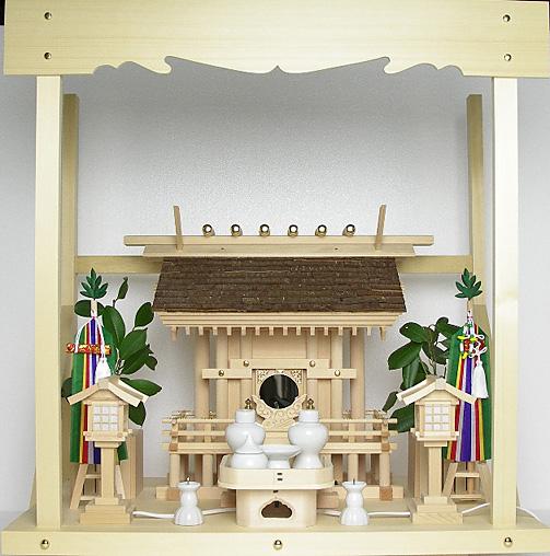 神棚 桧皮葺一社宮 正殿型〈H-3〉+神具セット(フル・小)+神棚板+雲板(中)のセット
