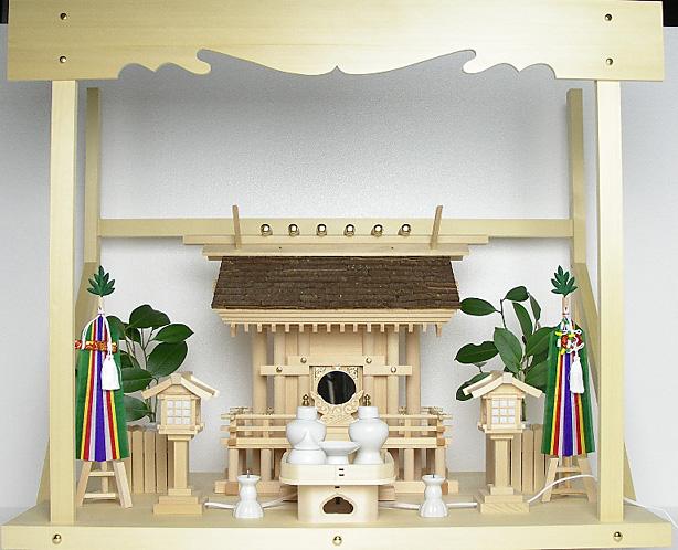 神棚 桧皮葺一社宮 正殿型〈H-3〉+神具セット(フル・小)+神棚板+雲板(大)のセット