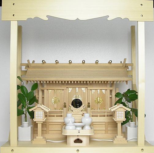 神棚 板葺三社宮〈I-17〉+神具セット(ハーフ・小)+神棚板+雲板(中)のセット