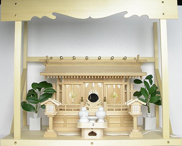 神棚 板葺三社宮〈I-17〉+神具セット(ハーフ・小)+神棚板+雲板(大)のセット