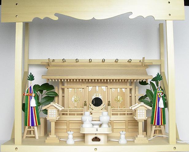 神棚 板葺三社宮〈I-17〉+神具セット(フル・小)+神棚板+雲板(大)のセット