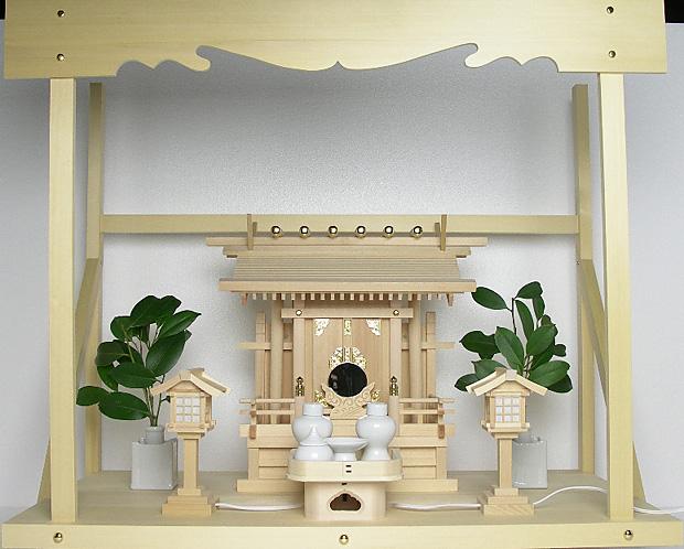 神棚 板葺一社宮 袖付き〈I-19〉+神具セット(ハーフ・小)+神棚板+雲板(大)のセット