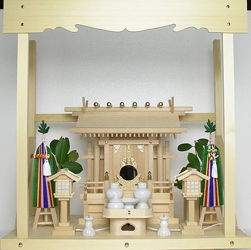 神棚 板葺一社宮 袖付き〈I-19〉+神具セット(フル・小)+神棚板+雲板(中)のセット