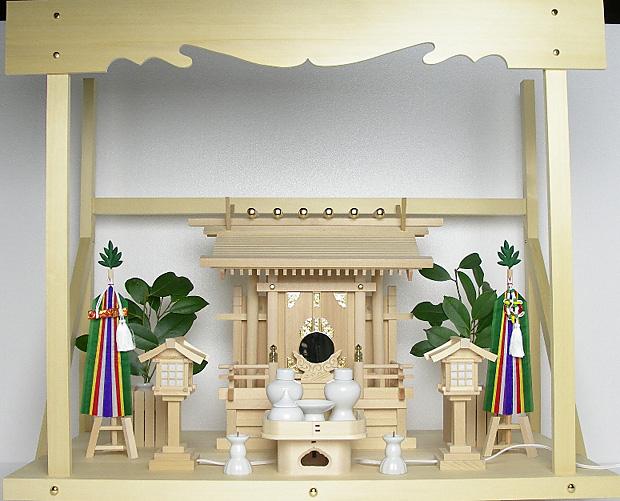 神棚 板葺一社宮 袖付き〈I-19〉+神具セット(フル・小)+神棚板+雲板(大)のセット