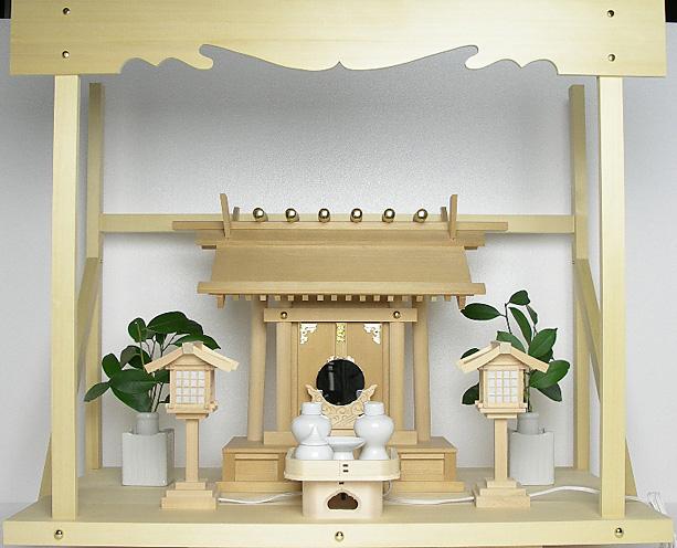 神棚 板葺一社宮〈I-21〉+神具セット(ハーフ・中)+神棚板+雲板(大)のセット