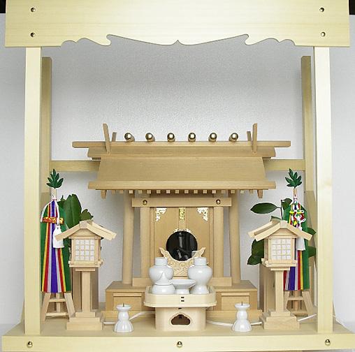 神棚 板葺一社宮〈I-21〉+神具セット(フル・中)+神棚板+雲板(中)のセット