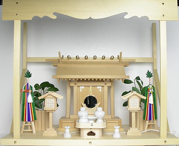 神棚 板葺一社宮〈I-21〉+神具セット(フル・中)+神棚板+雲板(大)のセット