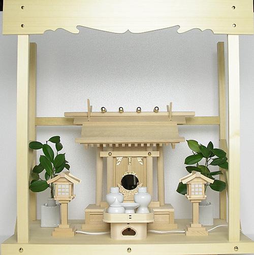 神棚 板葺一社宮〈I-22〉+神具セット(ハーフ・小)+神棚板+雲板(大)のセット