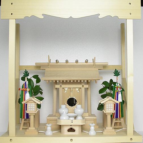 神棚 板葺一社宮〈I-22〉+神具セット(フル・小)+神棚板+雲板(中)のセット