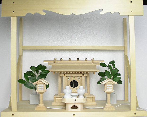 神棚 板葺一社宮〈I-22'〉+神具セット(ハーフ・小)+神棚板+雲板(大)のセット