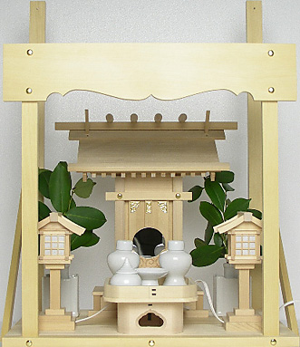 神棚 板葺一社宮〈I-23〉+神具セット(ハーフ・小)+神棚板+雲板(小)のセット
