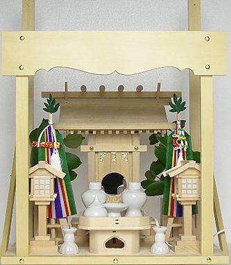 神棚 板葺一社宮〈I-23〉+神具セット(フル・小)+神棚板+雲板(小)のセット