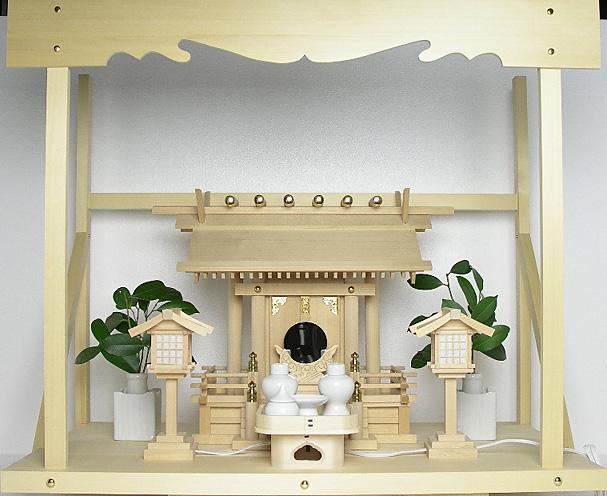 神棚 板葺一社宮〈I-28〉+神具セット(ハーフ・中)+神棚板+雲板(大)のセット