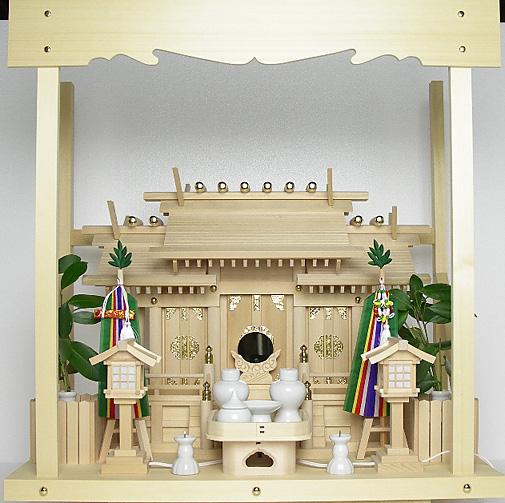 神棚 板葺屋根違い三社宮〈I-5〉+神具セット(フル・小)+神棚板+雲板(中)のセット