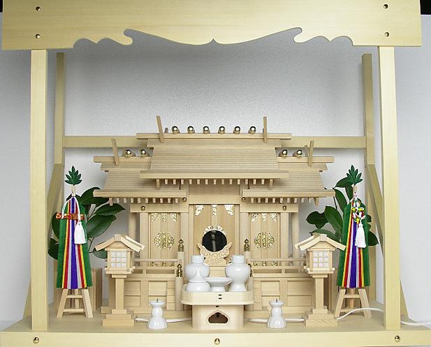 神棚 板葺屋根違い三社宮〈I-5〉+神具セット(フル・小)+神棚板+雲板(大)のセット