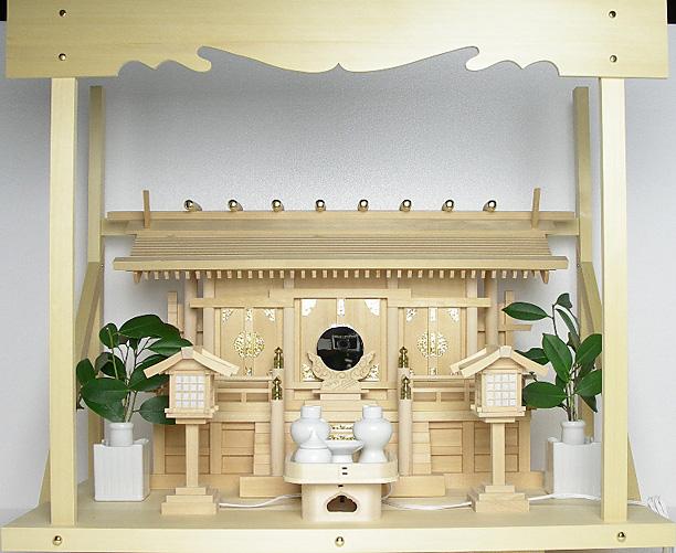 神棚 板葺三社宮〈I-6〉+神具セット(ハーフ・中)+神棚板+雲板(大)のセット