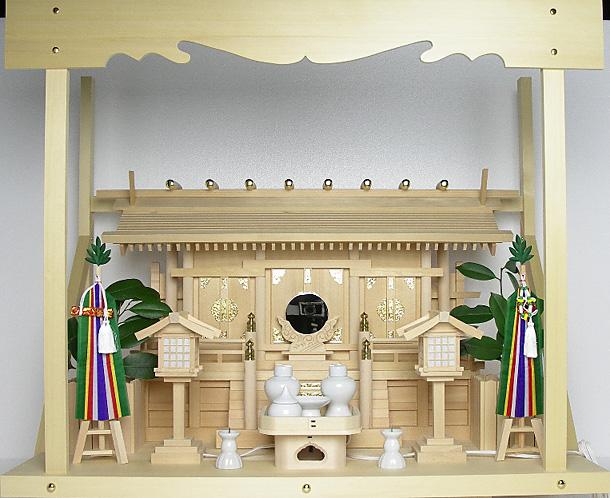 神棚 板葺三社宮〈I-6〉+神具セット(フル・中)+神棚板+雲板(大)のセット