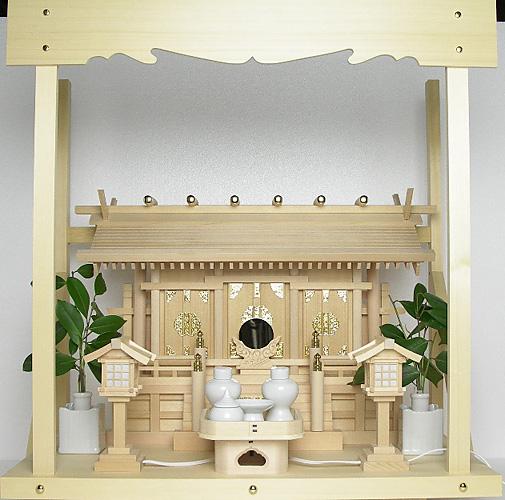 神棚 板葺三社宮〈I-7〉+神具セット(ハーフ・小)+神棚板+雲板(中)のセット