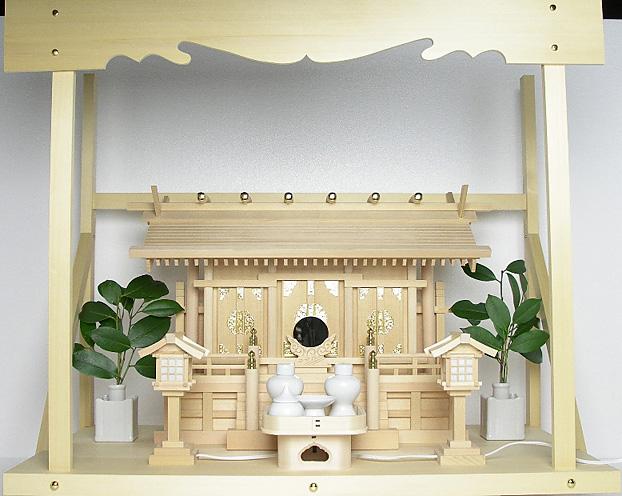 神棚 板葺三社宮〈I-7〉+神具セット(ハーフ・小)+神棚板+雲板(大)のセット