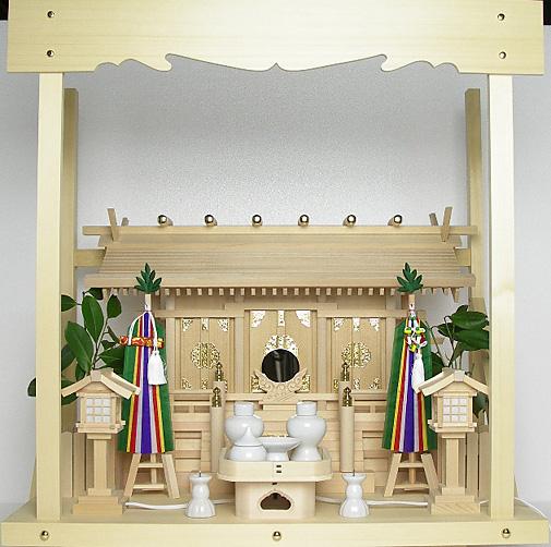 神棚 板葺三社宮〈I-7〉+神具セット(フル・小)+神棚板+雲板(中)のセット
