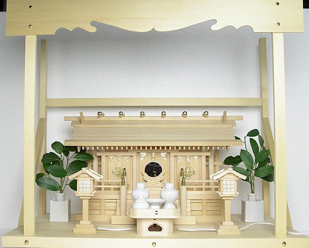 神棚 板葺三社宮〈I-7'〉+神具セット(ハーフ・小)+神棚板+雲板(大)のセット