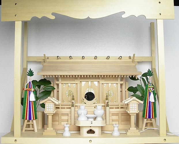 神棚 板葺三社宮〈I-7'〉+神具セット(フル・小)+神棚板+雲板(大)のセット