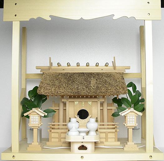 神棚 茅葺一社宮 五十鈴型袖付き〈K-11〉+神具セット(ハーフ・小)+神棚板+雲板(中)のセット