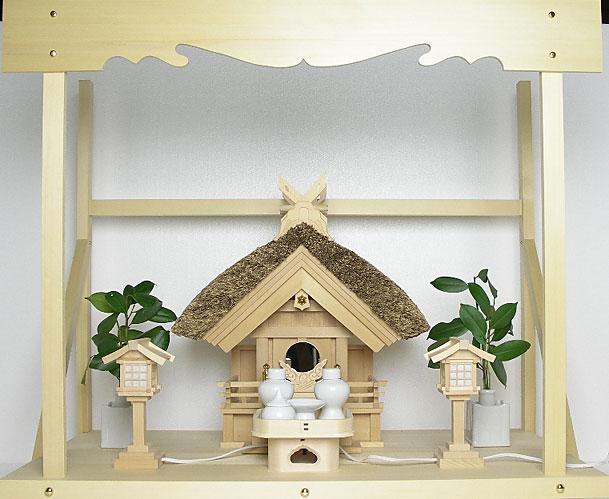 神棚 茅葺一社宮 妻入り型〈K-13〉+神具セット(ハーフ・小)+神棚板+雲板(大)のセット