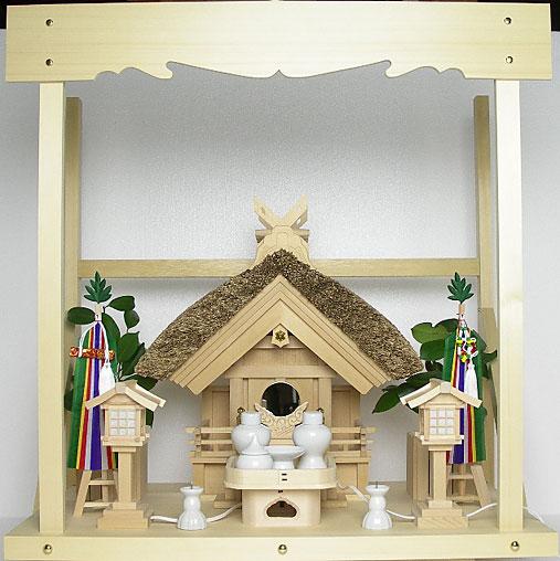 神棚 茅葺一社宮 妻入り型〈K-13〉+神具セット(フル・小)+神棚板+雲板(中)のセット