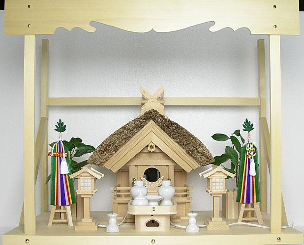 神棚 茅葺一社宮 妻入り型〈K-13〉+神具セット(フル・小)+神棚板+雲板(大)のセット