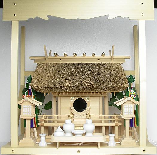 神棚 茅葺一社宮〈K-2〉+神具セット(フル・中)+神棚板+雲板(中)のセット〈K-2用〉
