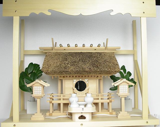 神棚 茅葺一社宮〈K-2〉+神具セット(ハーフ・中)+神棚板+雲板(大)のセット