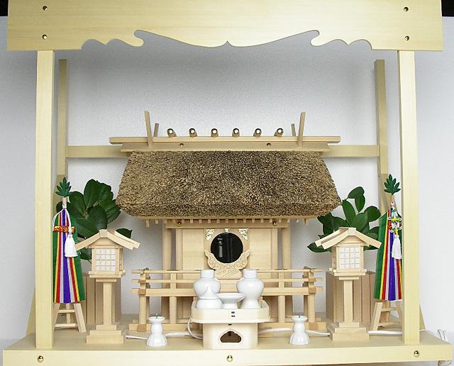 神棚 茅葺一社宮〈K-2〉+神具セット(フル・中)+神棚板+雲板(大)のセット