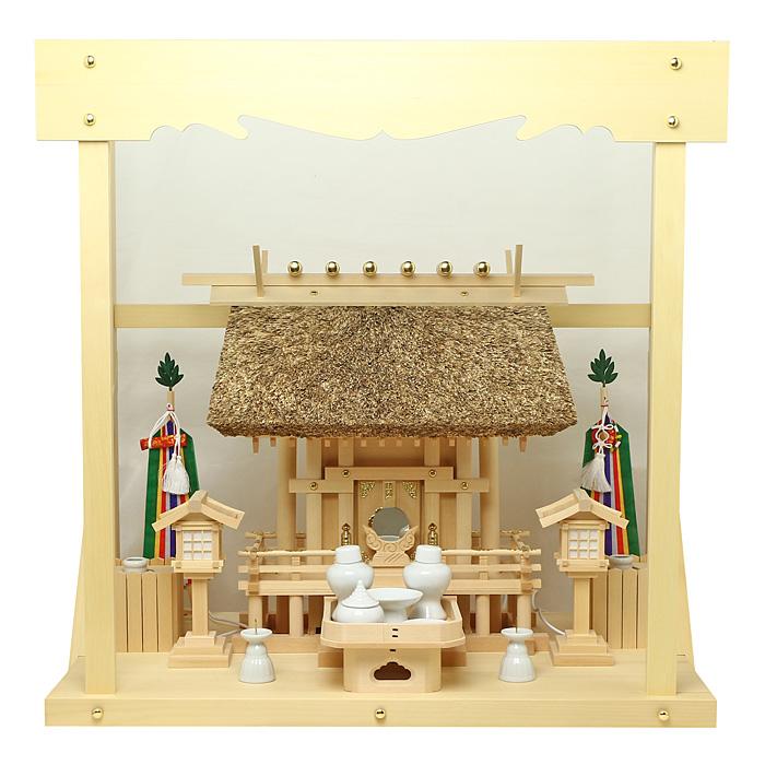 神棚 茅葺一社宮 正殿型〈K-9〉+神具セット(フル・小)+神棚板+雲板(中)のセット