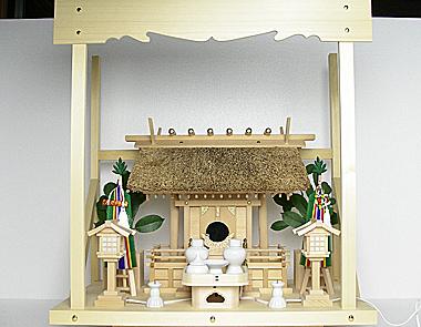 神棚 茅葺一社宮 五十鈴型〈K-10〉+神具セット(フル・小)+神棚板+雲板(中)のセット