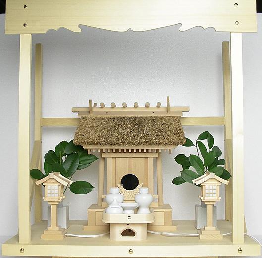 神棚 茅葺一社宮 神路型〈K-14〉+神具セット(ハーフ・小)+神棚板+雲板(中)のセット