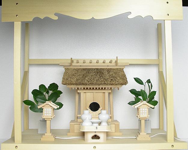 神棚 茅葺一社宮 神路型〈K-14〉+神具セット(ハーフ・小)+神棚板+雲板(大)のセット