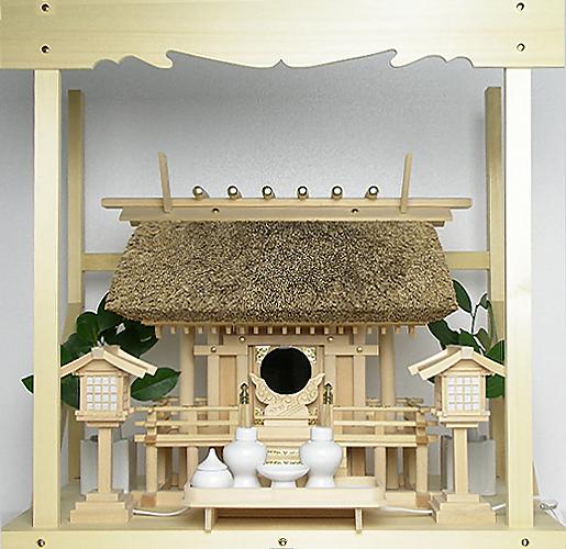 神棚 茅葺一社宮 正殿型〈K-8〉+神具セット(ハーフ・中)+神棚板+雲板(中)のセット〈K-8用〉