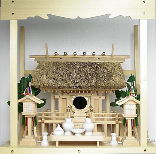神棚 茅葺一社宮 正殿型〈K-8〉+神具セット(フル・中)+神棚板+雲板(中)のセット〈K-8用〉